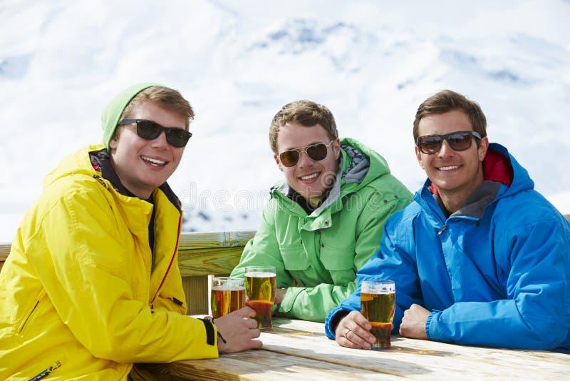Grupp av unga män som tycker om drinken i stång på Ski Resort arkivbild