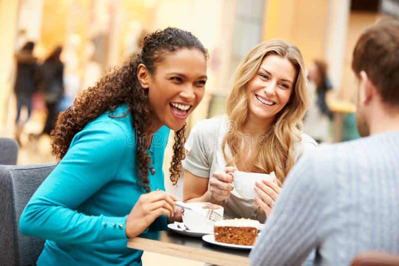 Grupp av unga vänner som möter i kafé royaltyfri fotografi