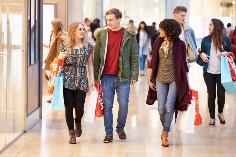 Grupp av unga vänner som tillsammans shoppar i galleria royaltyfri fotografi