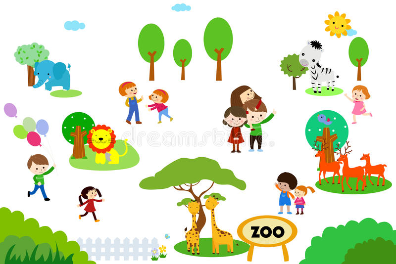 Grupp av ungar i zoo royaltyfri illustrationer