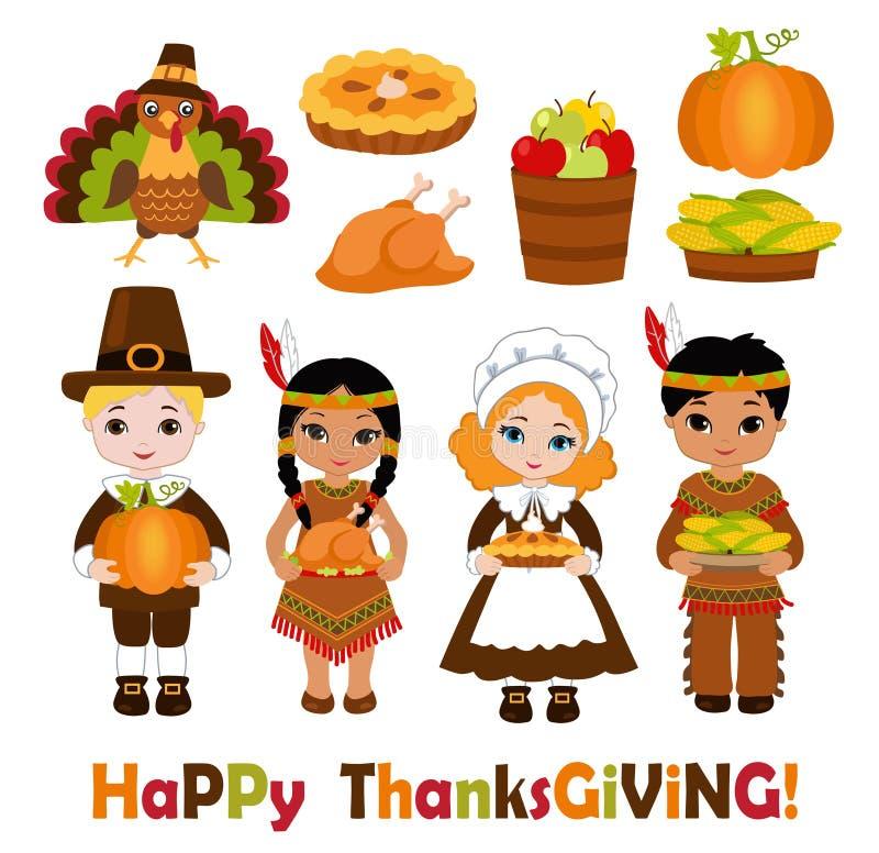 Grupp av ungar - indier och vallfärdar - dela mat för tacksägelse stock illustrationer