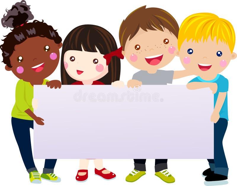 Grupp av ungar och banret stock illustrationer