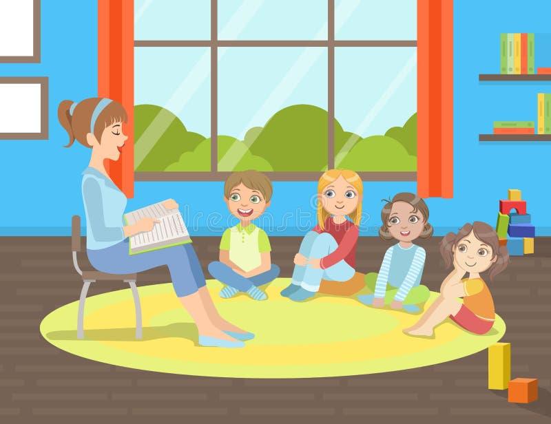 Grupp av ungar som sitter på golv, läraren Sitting på stol och läseboken till dem vektorillustration royaltyfri illustrationer