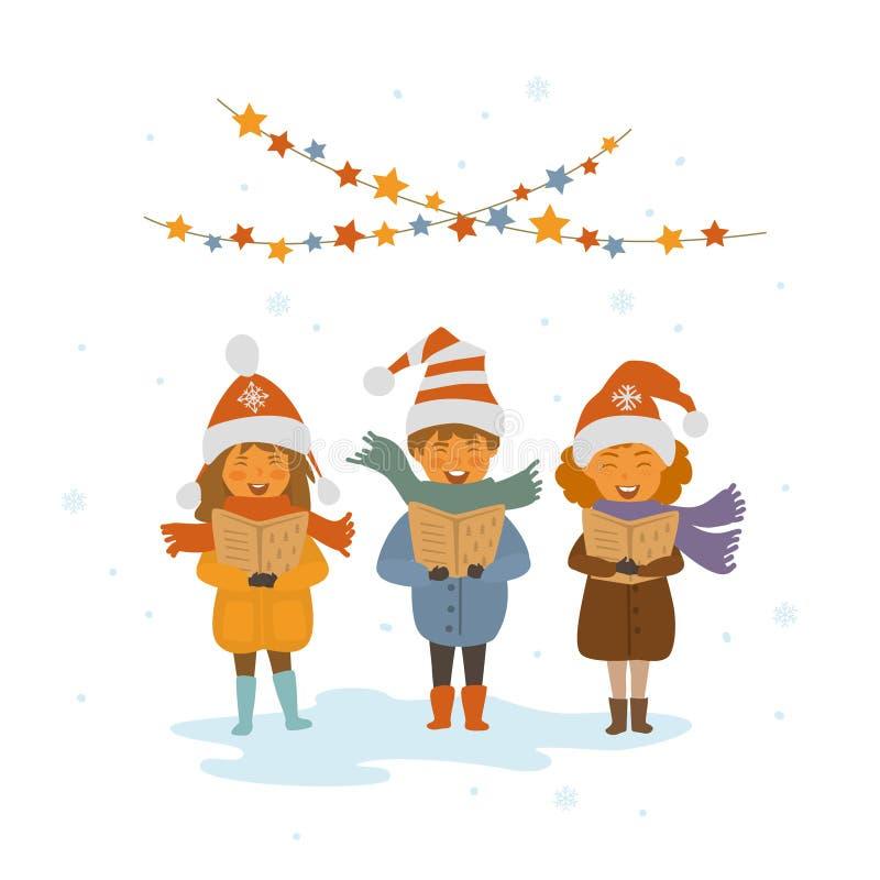 Grupp av ungar som sjunger julsånglovsånger vektor illustrationer