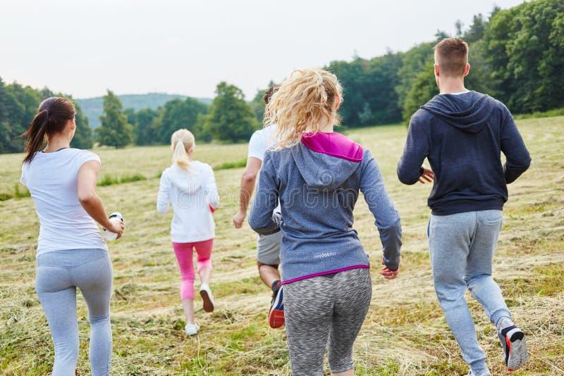 Grupp av ungdomaratt jogga royaltyfri fotografi