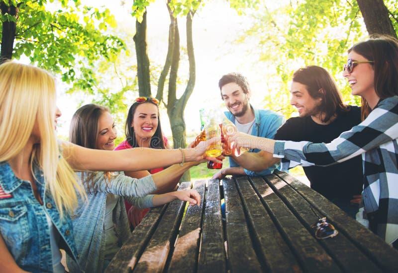 Grupp av ungdomarsom hurrar och att ha gyckel arkivfoton