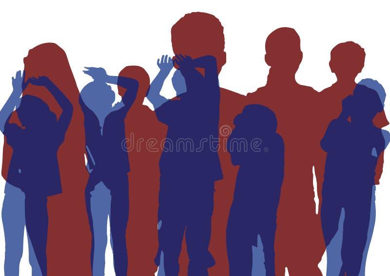 Grupp av ungekonturer Blå dans och rött posera överlappning stock illustrationer