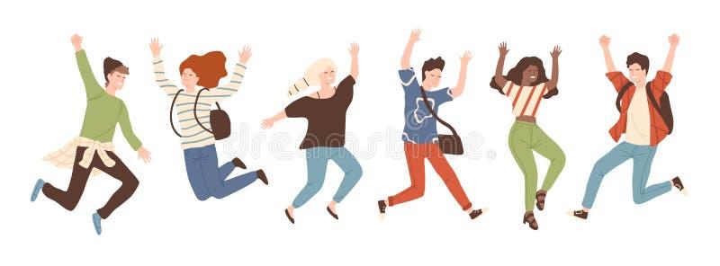 Grupp av ungt glat skratta folk som hoppar med lyftta händer som isoleras på vit bakgrund Lyckliga positiva unga män royaltyfri illustrationer