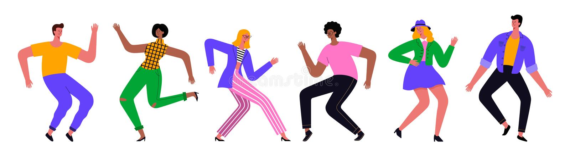 Grupp av ungt lyckligt dansa folk eller man och kvinnliga dansare Design f?r vektorillustrationl?genhet arkivbilder