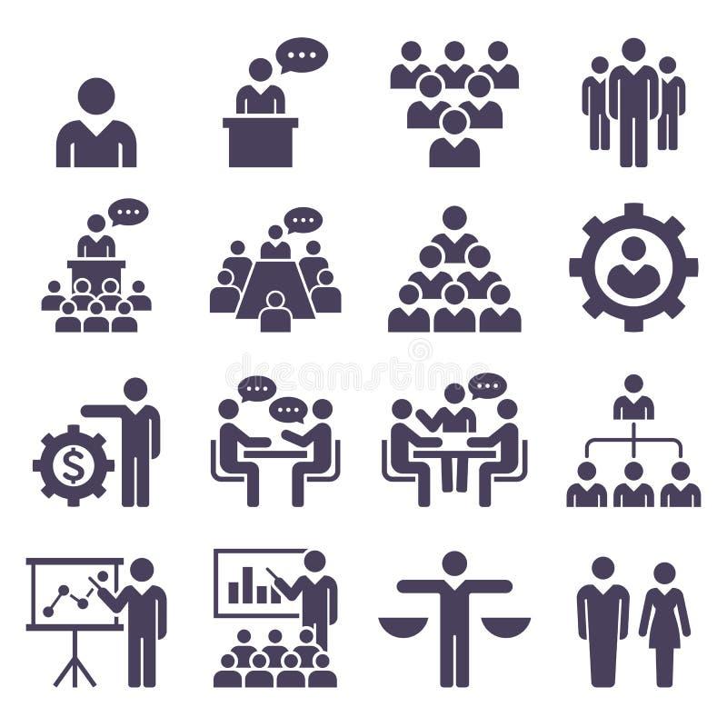 Grupp av uppsättningen för symboler för affärsfolk royaltyfri illustrationer