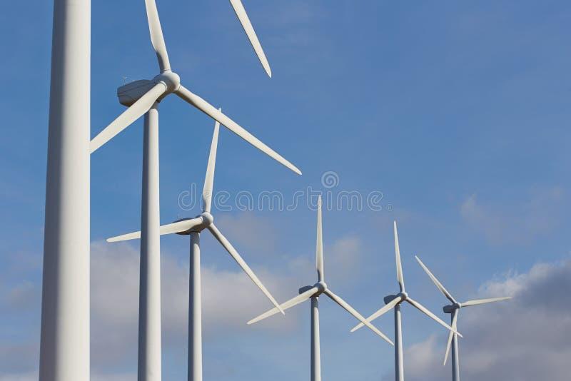 Grupp av väderkvarnar för förnybar elektrisk energiproduktion royaltyfri foto