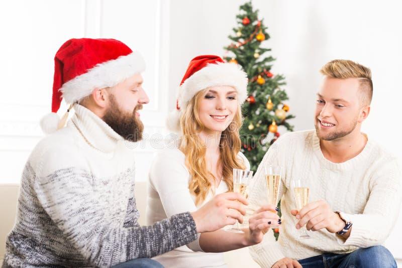 Grupp av vänner, i att fira för julhattar arkivfoto