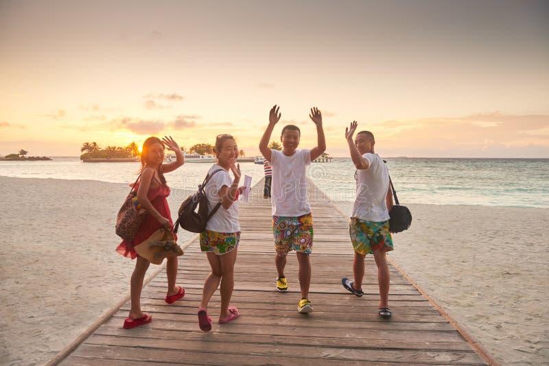 Grupp av vänner på den härliga stranden royaltyfri foto