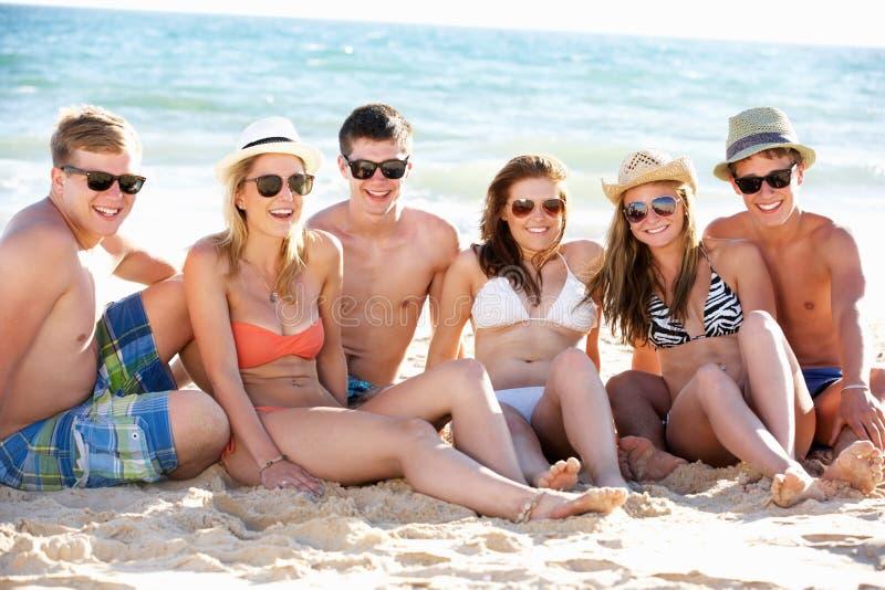 Grupp av vänner på strandferie arkivbild