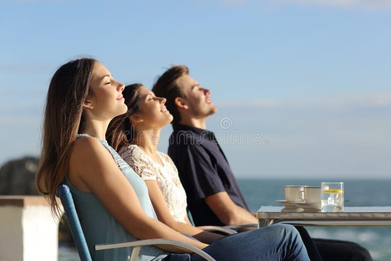 Grupp av vänner som andas ny luft i en restaurang på stranden royaltyfria bilder