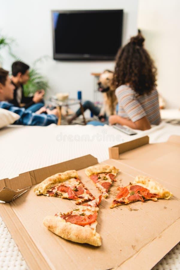 grupp av vänner som håller ögonen på tv med pizza royaltyfri fotografi