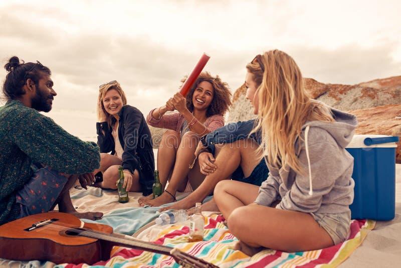 Grupp av vänner som har ett strandparti royaltyfri fotografi