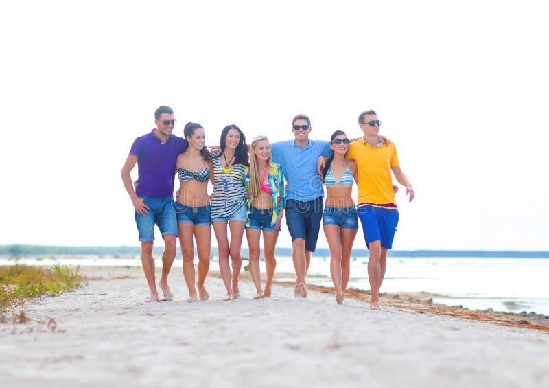 Grupp av vänner som har gyckel på stranden arkivfoto