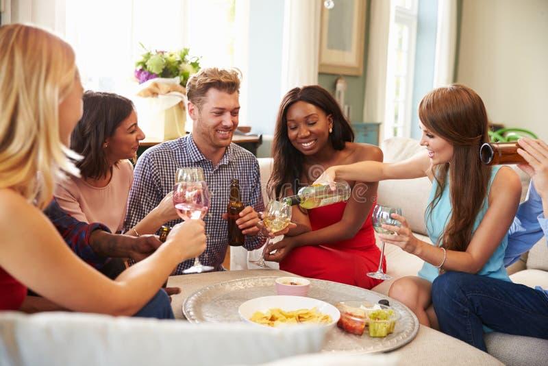 Grupp av vänner som hemma kopplar av med drinkar tillsammans arkivfoton