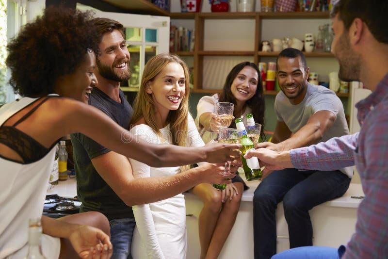 Grupp av vänner som hemma tycker om cocktail party royaltyfri fotografi