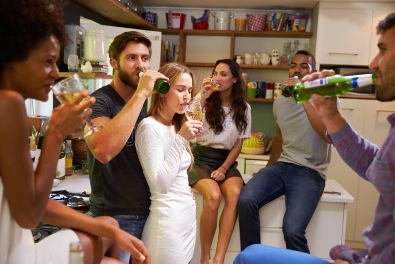 Grupp av vänner som hemma tycker om cocktail party arkivbilder