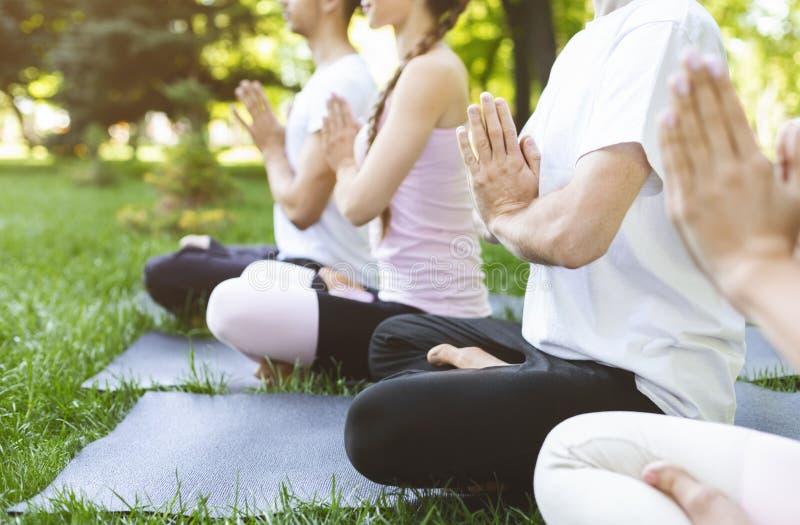 Grupp av vänner som rymmer händer i namaste, medan meditera in parkera royaltyfri bild