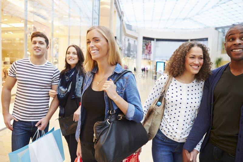 Grupp av vänner som tillsammans shoppar i galleria arkivbilder