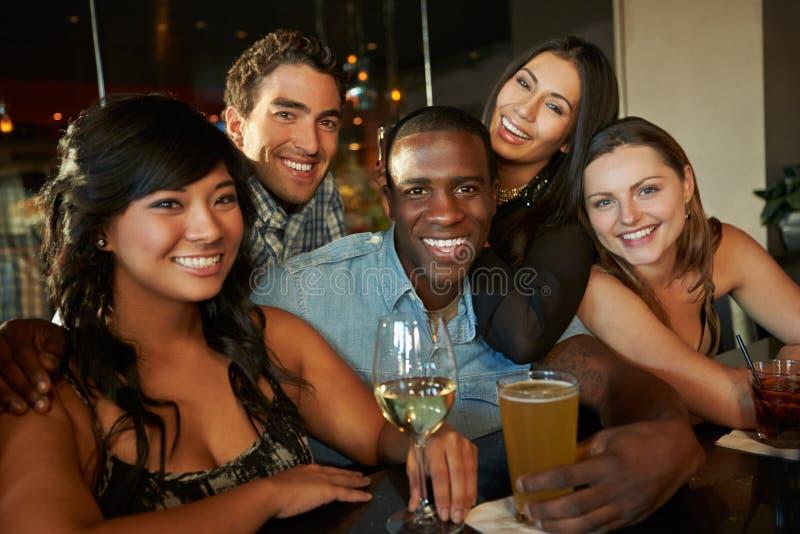 Grupp av vänner som tillsammans tycker om drinken på stången royaltyfria bilder