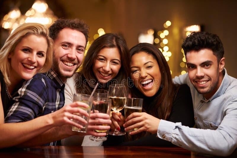 Grupp av vänner som tycker om aftondrinkar i stång royaltyfri foto