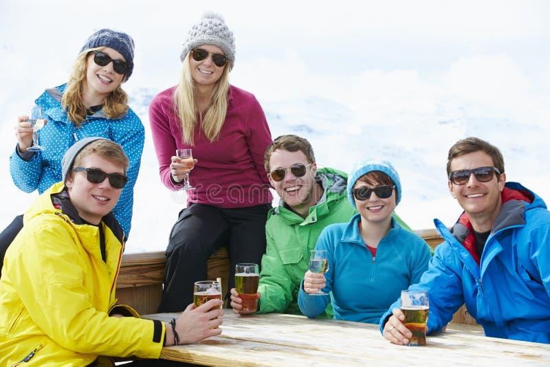 Grupp av vänner som tycker om drinken i stång på Ski Resort royaltyfria bilder