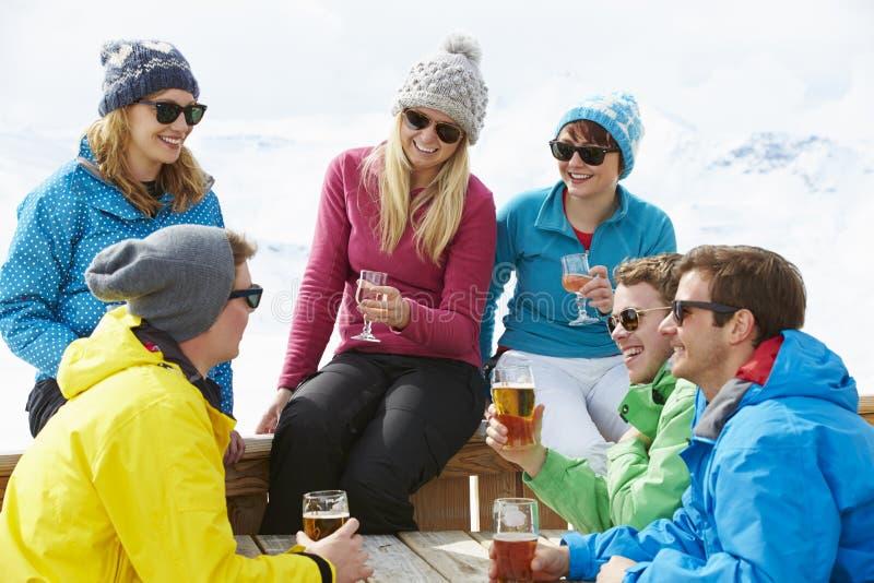 Grupp av vänner som tycker om drinken i stång på Ski Resort royaltyfri foto