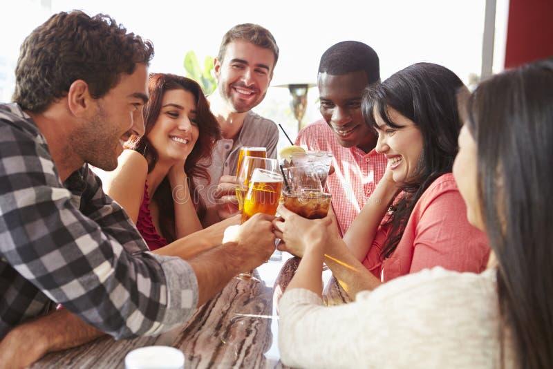 Grupp av vänner som tycker om drinken på den utomhus- takstången royaltyfri bild