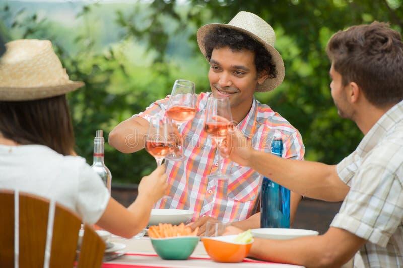 Grupp av vänner som tycker om drinken som är utomhus- arkivbilder