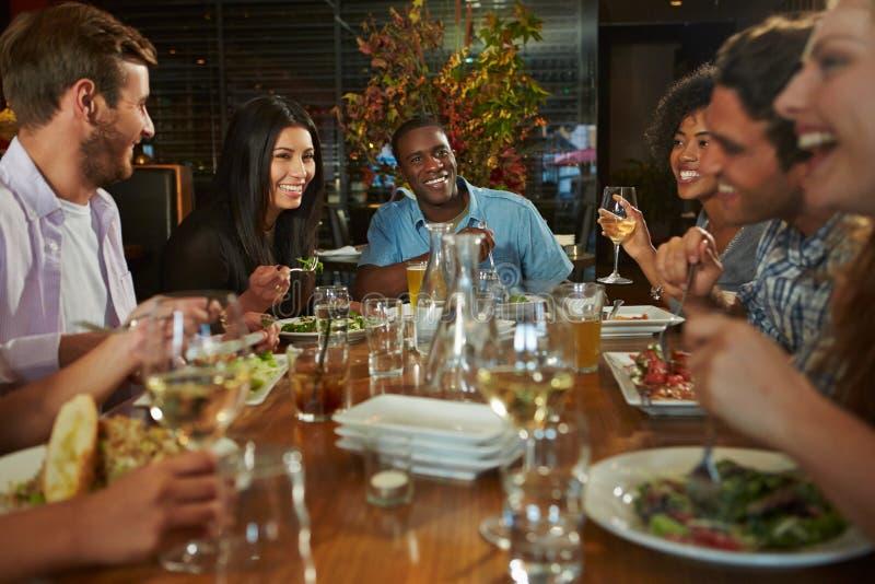 Grupp av vänner som tycker om mål i restaurang arkivfoton