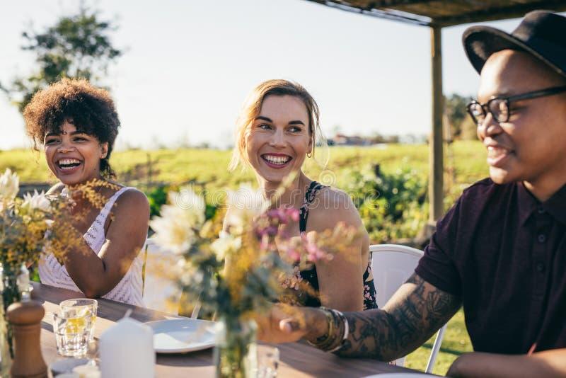 Grupp av vänner som tycker om mål på det utomhus- partiet royaltyfria bilder