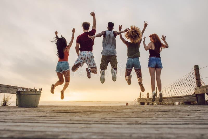 Grupp av vänner som tycker om på stranden royaltyfria foton