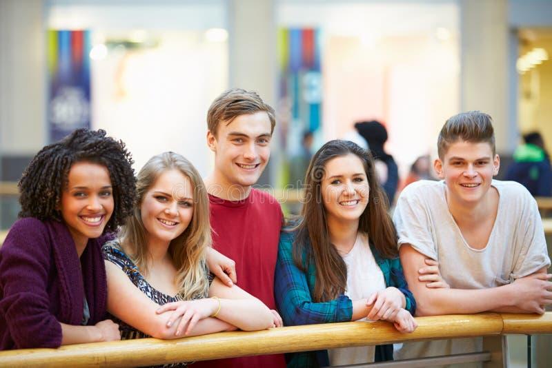 Grupp av vänner som ut hänger i shoppinggalleria royaltyfria bilder