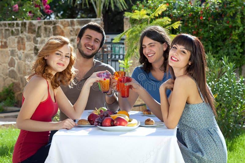 Grupp av vänner som utomhus tycker om lunch royaltyfria bilder