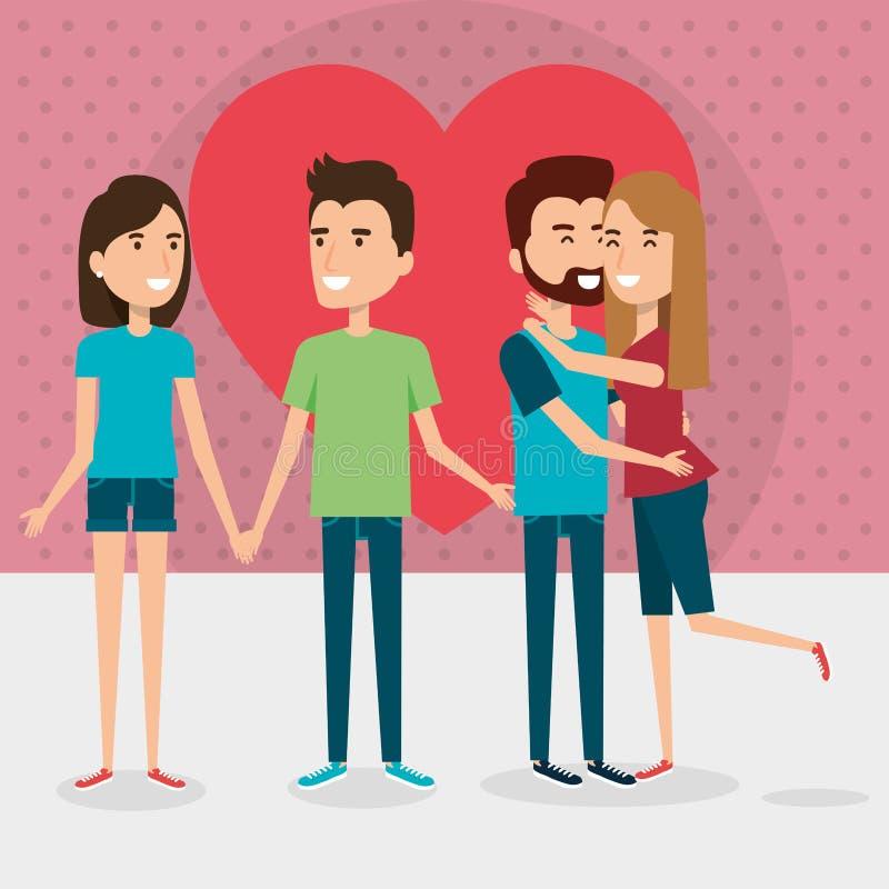 Grupp av vänpar med hjärta vektor illustrationer