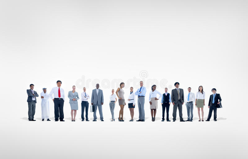 Grupp av världsaffärsfolk på vit bakgrund royaltyfri foto