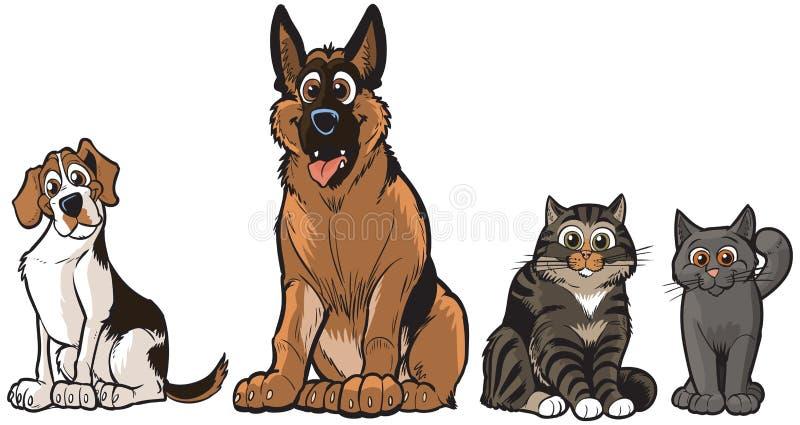 Grupp av vektortecknad filmhundkapplöpning och katter