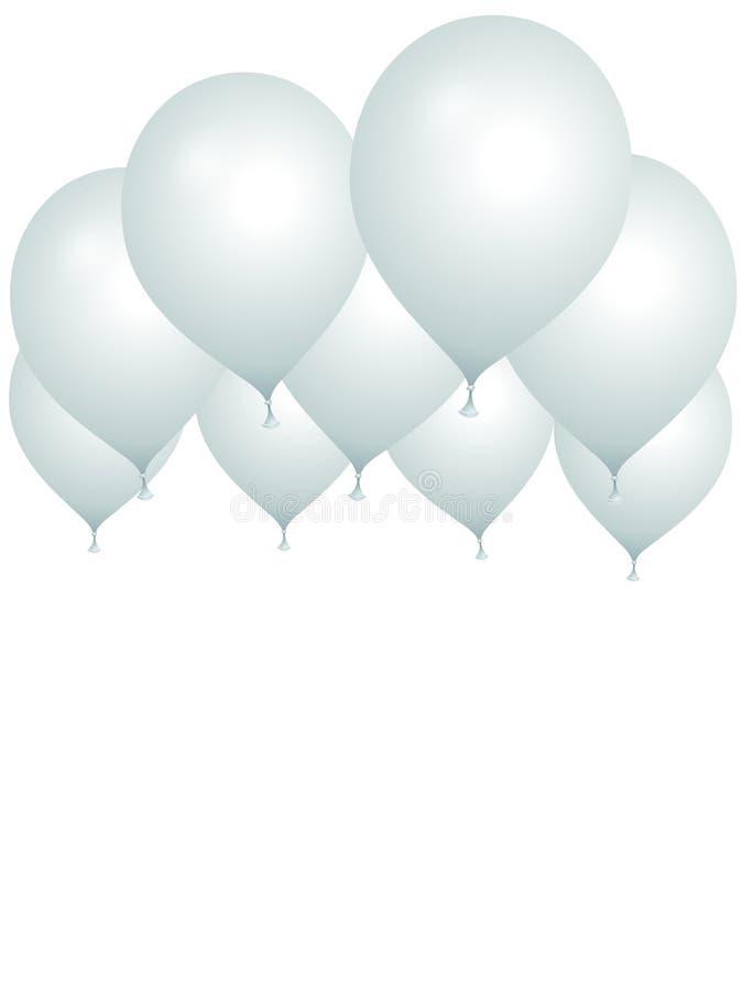 Grupp av vita ballonger på en vit bakgrund stock illustrationer