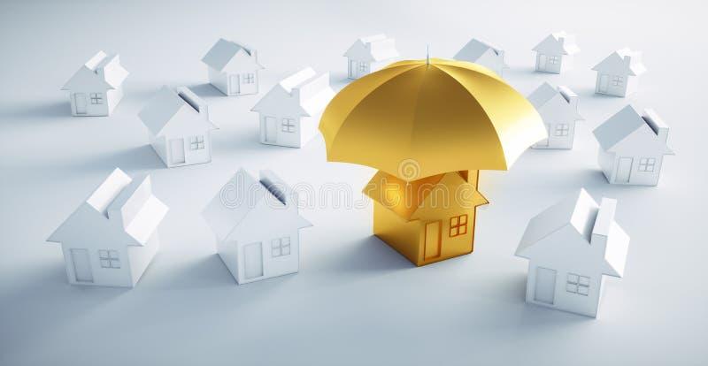 Grupp av vita hus med ett paraply vektor illustrationer