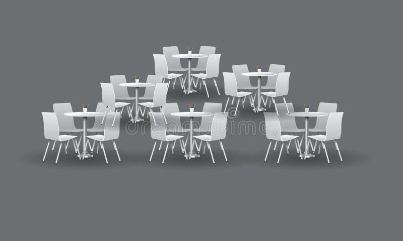 Grupp av vita moderna runda tabeller med stolar också vektor för coreldrawillustration stock illustrationer