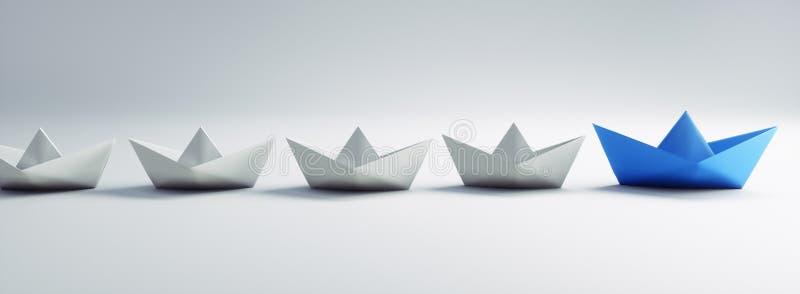 Grupp av vita och blåa pappers- fartyg - illustration 3D vektor illustrationer