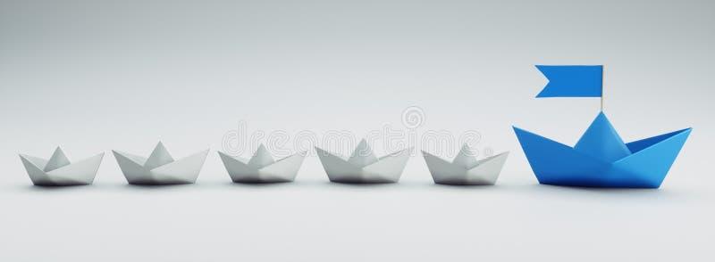 Grupp av vita och blåa pappers- fartyg - illustration 3D stock illustrationer