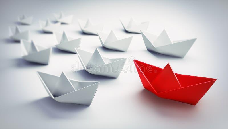 Grupp av vita och röda pappers- fartyg - illustration 3D royaltyfri illustrationer