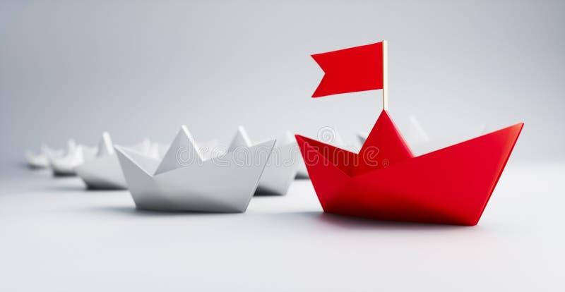 Grupp av vita och röda pappers- fartyg - illustration 3D vektor illustrationer