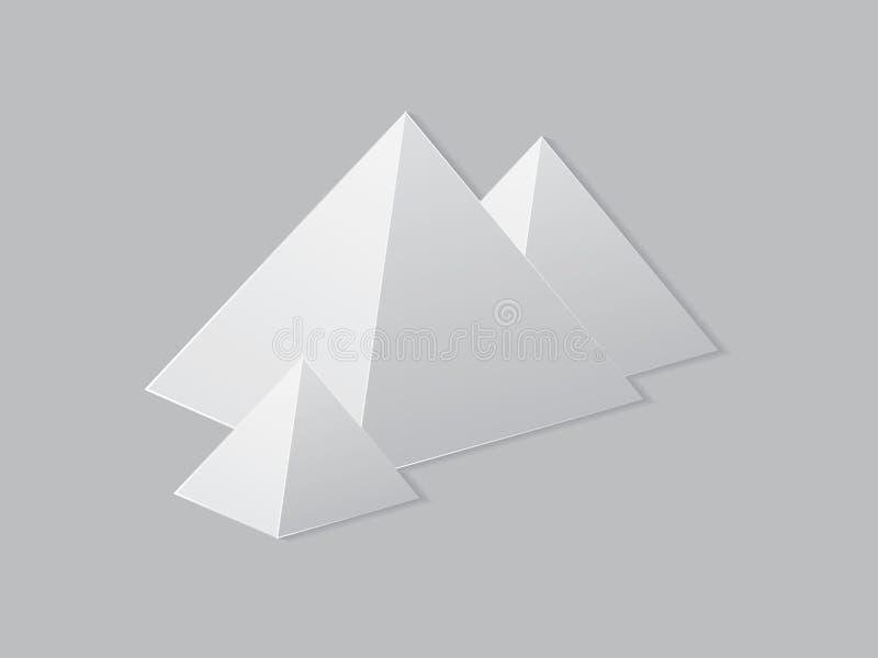 Grupp av vita pyramider på den pappers- sidan för illustration stock illustrationer