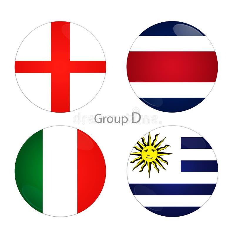 Grupp D - England, Costa Rica, Italien, Uruguay vektor illustrationer